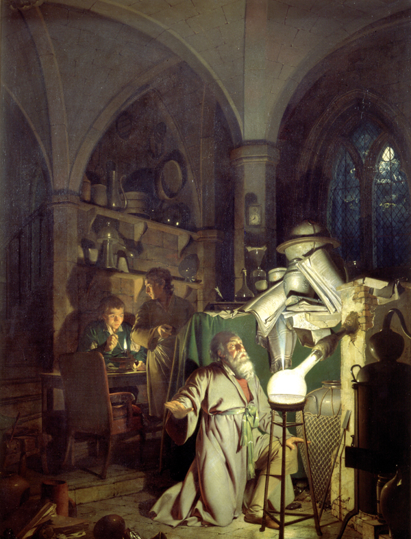 The Alchemist Discovering Phosphorous by Joseph Wright of Derby (1771)