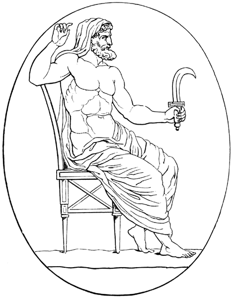 Greek God, Kronos/Saturnus, with sickle
