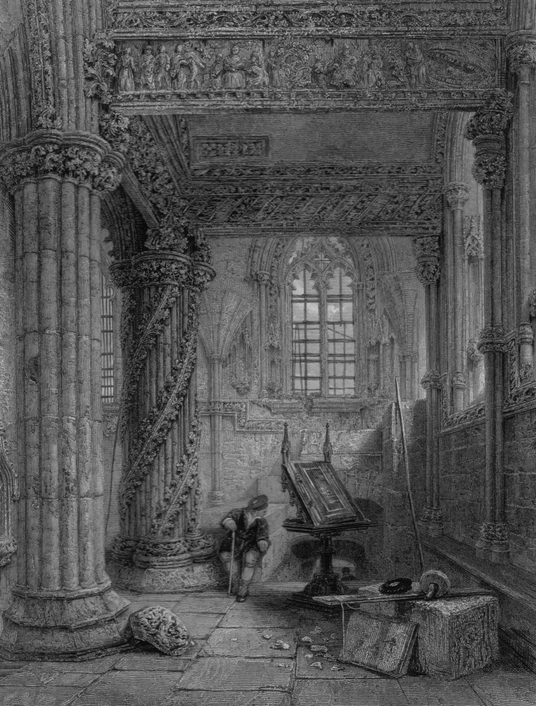 An interior view of Rosslyn Chapel showing the Apprentice Pillar and ornate carvings (Heath's Picturesque Annual, 1835)